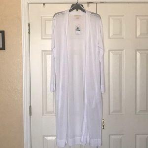 Michael Kors white knit duster long cardigan Large
